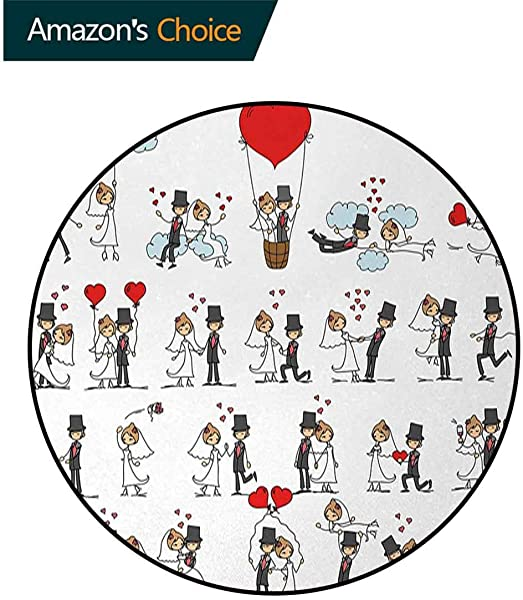 Wedding Modern Machine Washable Round Bath Mat Cartoon Couple On Clouds With Hearts Celebration Love Valentines Themed Non Slip Soft Floor Mat Home Decor Diameter 47 Inch Red Mint Green Grey