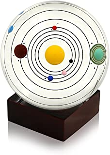 Sumnacon Clear Crystal Ball Sphere 80mm / 3 inch , Solar System Crystal Ball with Wood Stand, Planet Balls for Astronomer Decoration, Lover of Space, Kids and Student, No Pluto (Wooden Stand)