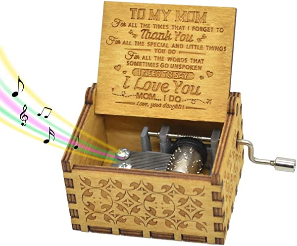 Hand Crank Music Box For Mom Gifts From Daughter Play The Tune You Are My Sunshine Unique Gifts For Mom Vintage Engraving Wooden Music Box For Mom