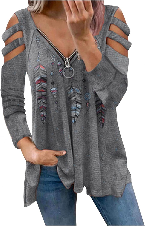 POLLYANNA KEONG Long Sleeve Tee Shirts for Women,Women's Fall Long Sleeve Zipper Front V-Neck T-Shirt Tunic Top Shirts