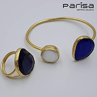 Ottoman Collection - Handmade gold plated bracelet and ring embedded with Agate stone and pearl.