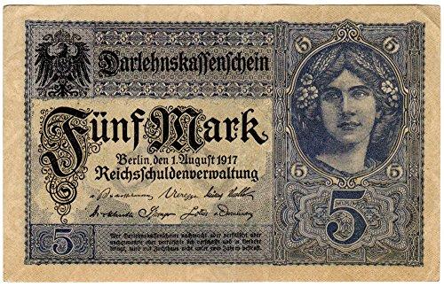 Banknoten Darlehenskassenschein 5 Mark, Deutsches Reich, 1917, Nr. Y.18221152