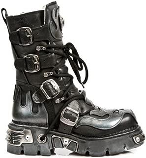 Newrock 107-S2 Silver Skull Devil Metallic Boots
