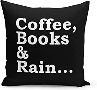 Coffee Books Pillow Black Velvet Pillow with Pearl White Foil Print Reading Couch Pillows