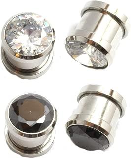 2 Pairs of Black Clear Gem Gauges Steel Ear Plugs 8g 6g 4g 2g 0g 00g 1/2 inch