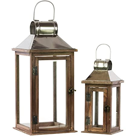 Urban Trends 94638 Square Lantern With Chrome Silver Metal Top Ring Hanger And Glass Windows Set Of Two Stained Wood Finish Brown Home Kitchen
