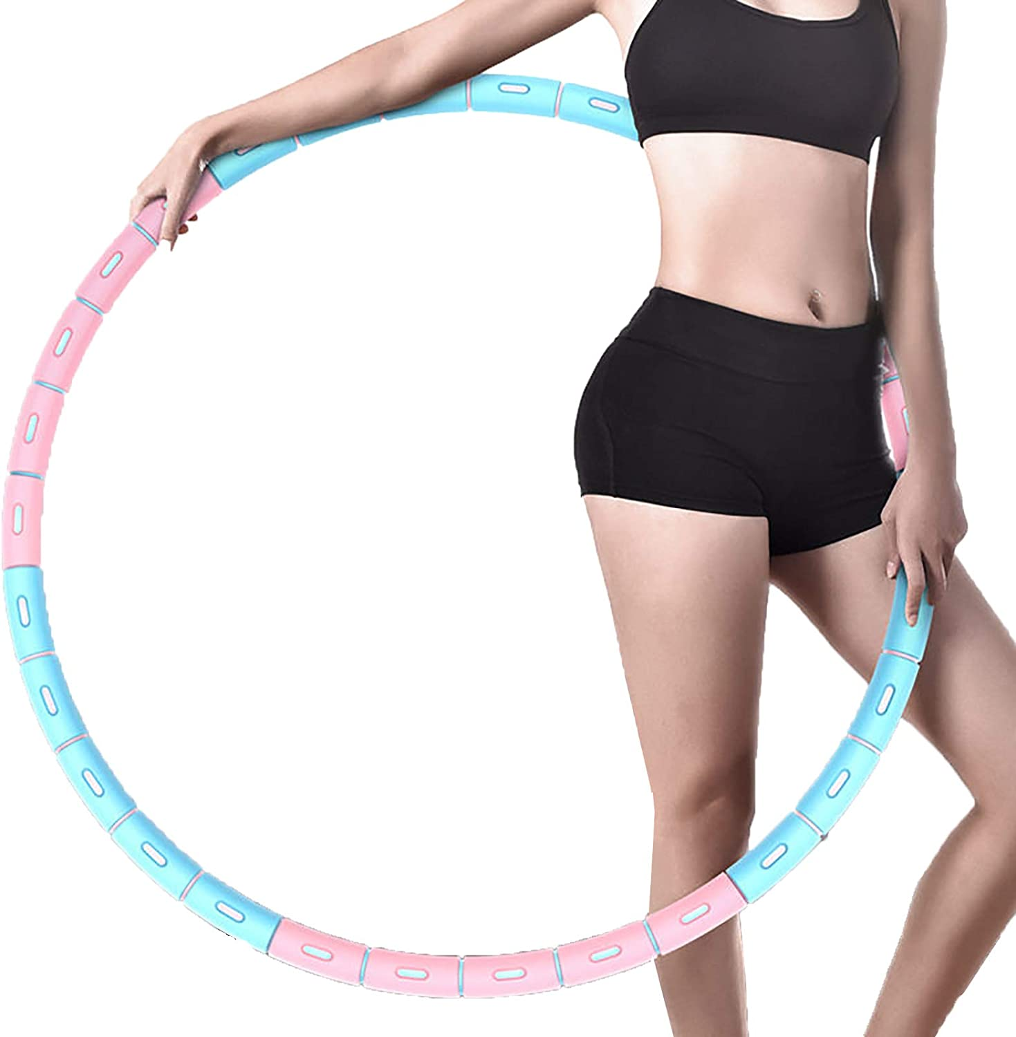Meowstic Hula Hoops for Adults Soft Thicken Foam Hoola Hoop for Slimming Workout Aerobic Exercise 1-5kg Weighted Hula Hoop 6 Sections Detachable Stainless Steel Fitness Hula Hoop