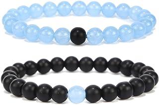 Black Matte Agate & Turquoise His and Hers Bracelets 8mm Sandstone Couple Bracelet Distance Bracelets XIAOLI (Sky blue 2PCS/Set)