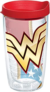 Tervis 1211879 Wonder Woman Colossal Tumbler with Wrap and Red Lid 16oz, Clear