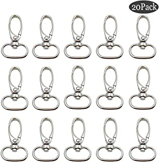Pack of 20 Metal 3/4 Inches Silvery Curved Lobster Clasps,Swivel Trigger Clips Snap Oval Ring