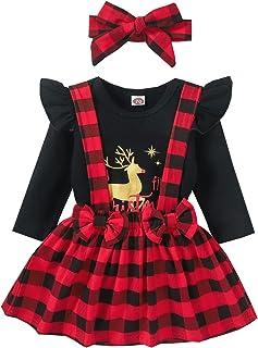 الرضع طفل الفتيات عيد الميلاد دير إلكتروني طباعة رومبير ارتداءها + منقوشة حمالة تنورة تنانير (Color : Black, Size : 9M)