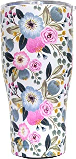 G-LEAF 30oz Floral Stainless Steel Tumbler with Lid Double Wall Stainless Steel Vacuum Insulated Tumbler for Hot and Cold Beverages