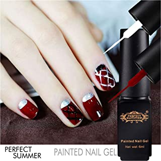 Perfect Summer 6PCS Painted Nail Gel Polish Soak Off Gel Liner UV LED Manicure DIY Nail Art Design Drawing Dotting Tools Nail Art Design Gift Set 6ML Each