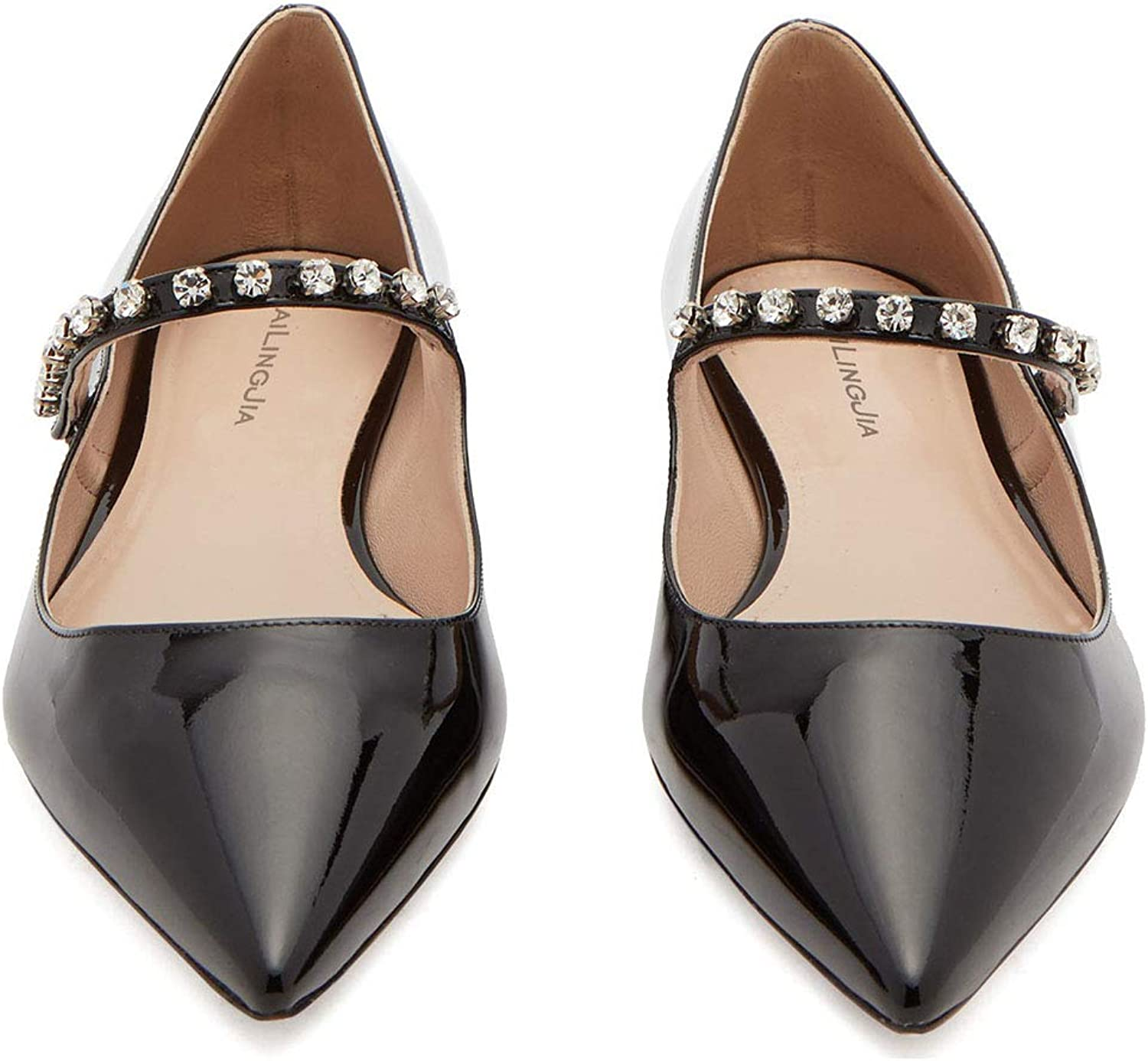 Sandals, Ladies Flats - Single shoes - Black - Patent Leather - Pointed - Shallow shoes - Diamond shoes
