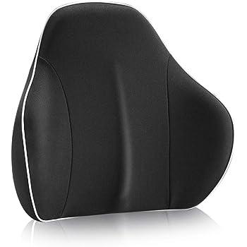 RaoRanDang 腰クッション 低反発 クッション ランバーサポート オフィス 椅子 車用 腰枕 腰楽 リラックスクッション 背当て 背もたれ クッション(ブラック)
