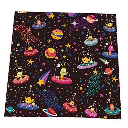 Ye Hua Cute Aliens Cosmic Tischsets, waschbare Tischsets aus Polyester, Elegante Tischsets für den Esstisch 6er-Set