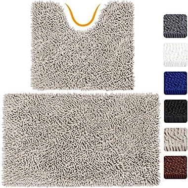 VDOMUS Microfiber Bathroom Rugs Combo, 2 Piece Rug Set, Includes 20  x 32  Soft Shaggy Bath Mat U-Shaped Toilet Floor Rug, Machine Washable(Beige)