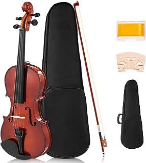 Sonart Full Size 4/4 ویولن چوب جامد، کیت Starter Acoustic با موارد سخت، Rosin، Bridge، Bow، مجموعه لباس Violin برای دانش آموزان مبتدی