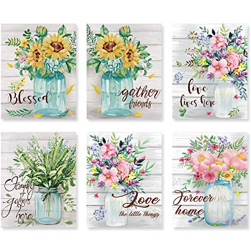 6 Pieces Flower Wall Art Prints Kitchen Wall Decor Flower Posters Watercolor Wall Prints Sunflower Mason Jar Floral Art Artwork Prints for Kitchen Living Room Bedroom Bathroom, 11 x 14 Inch (Unframed)