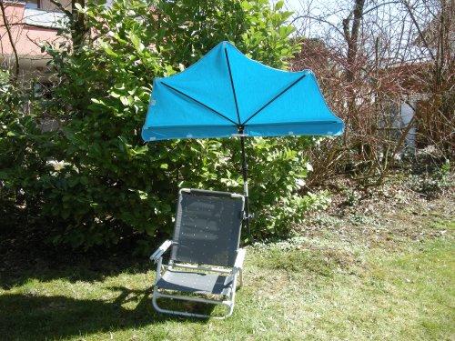 Parasol Zangenberg avec anti-UV UPF 50+ - Modèle Holly Traveller - Revêtement de la marque Agora - Couleur : jeans - Avec support universel rotatif à 360° - Fabriqué au Bade-Wurtemberg - IT.