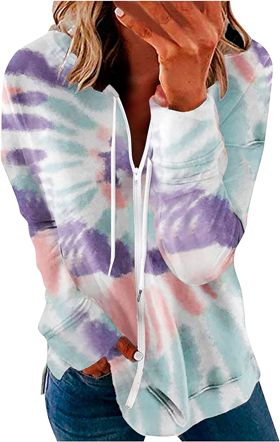 Hoodies for Women Zip Up Pullover Graphic Long Sleeve Color Print Pullover Hooded Sweatshirts Sweaters Jacket Coats