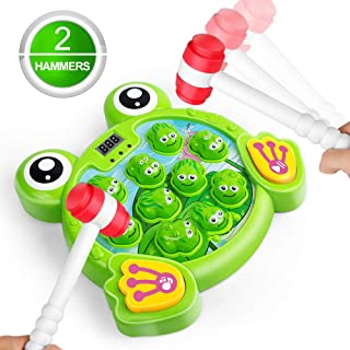 LURLIN Interactive Whack A Frog Game, Durable Pounding Toy, Helps Fine Motor Skills, Fun Gift for Ages 2, 3, 4,5 6 Years Old Kids, Boys, Girls, 2 Hammers Included