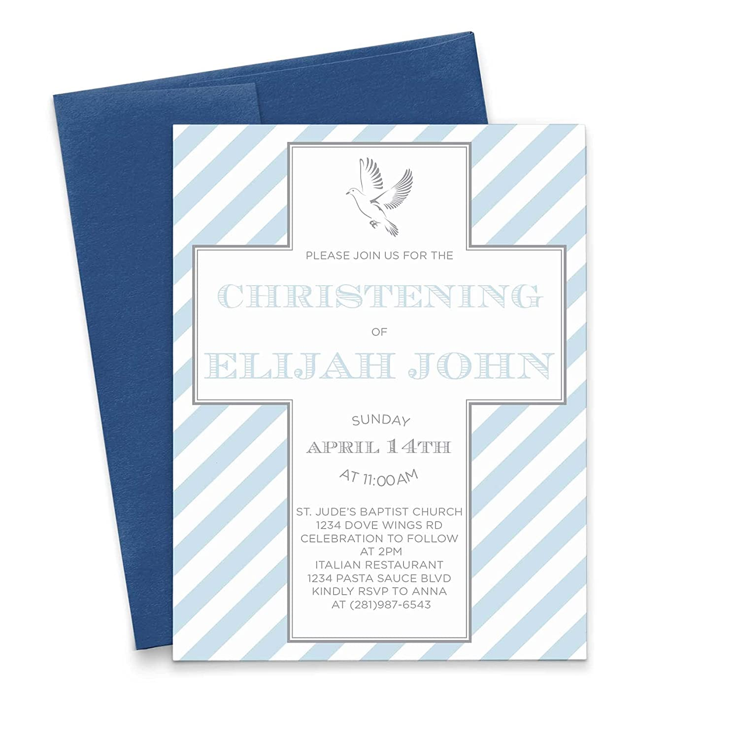 Blue Christening Invitations for Boys Personalized mart