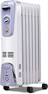 Tangkula Oil Filled Radiator Heater, 1500W Portable Space Heater Radiator with Adjustable Thermostat, 3 Heat Settings, Ove...