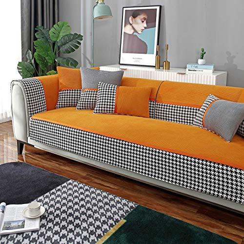 L Shaped Universal Cubiertas Seccionales Para El Couch,Jacquard Cubiertas Antideslizantes De Sofá Non Slip Cubiertas De Sofá,Salón Cubierta Del Sofá Terciopelo Cubierta Del Sofá-Naranja 110x160cm(43x6