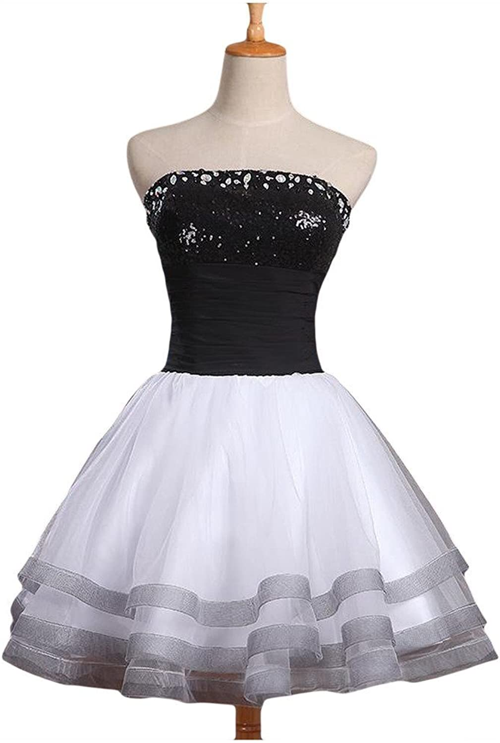 Angel Bride Black and White Strapless Prom Dresses ALine Tiered Ruffles Mini Dresses