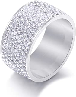 12MM Wide 8 Row Clear Crystal Ring Men Women Stainless Steel Iced Out Rings