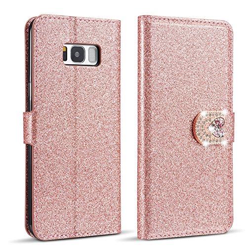ZCDAYE Hülle Kompatibel mit Samsung Galaxy S7 Edge,Glitzer [Magnetverschluss][Liebe Diamant Buckle] PU Leder Flip Brieftasche Folio Tasche mit [Kartenslots] Standfunktion Schutzhülle - Roségold