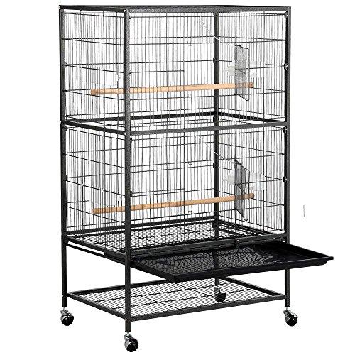 Yaheetech Grande Volière Cage Oiseaux sur roulettes...
