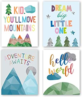 """HPNIUB Watercolor Inspirational Positive Quotes Art Prints Set of 4 (8""""X10"""" Adorable Abstract Geometric Painting Mountain,Trees,Sunrise Canvas Poster for Gifts Kids Bedroom Classroom Decor, No Frame"""