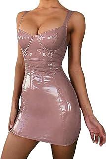 Mini abito sexy da donna, senza maniche, aderente, in pelle PU, con collo quadrato, con cinghia regolabile, per Clubwear a...