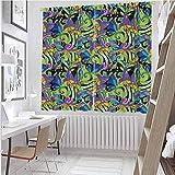 Cortina aislada de seta Groovy Trippy de colores mezclados Sapo Hongos plantas espirales naturales mariposas sombra insonorizada W42 x L36 pulgadas Multicolor