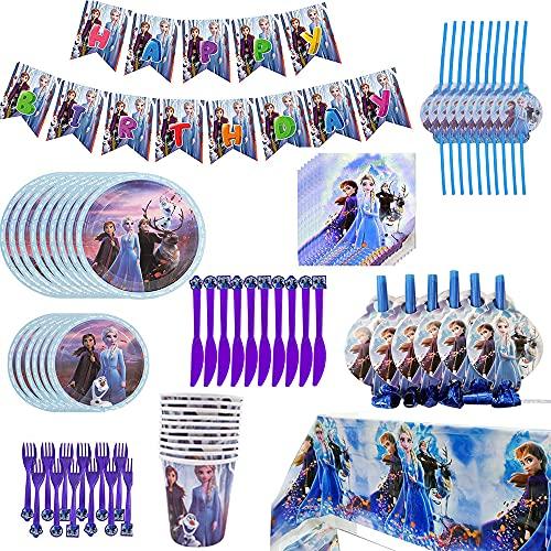 AODOOR Vajilla de fiesta de cumpleaños de Elsa, 88 piezas, diseño de Frozen