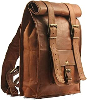 Tuzech Unisex Brown Pure Leather Bag Adjustable Size Casual Use Messenger Satchel Bag Cute Backpack Fits Laptop Upto (21 Inches)