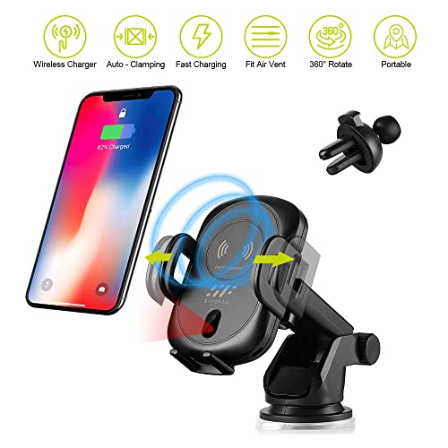 MAX Note 9//8 iPhone X//XS//XS Max//XR//8//8 Plus and other QI-enabled devi //7.5W//5W Qi Fast Charge Automatic Clamp Sensor Dash //Windshield Mount Phone Holder Compatible with Samsung Galaxy S10//S10+//S9//S9+//S8//S8+//S7 Edge//S7 1ONE Wireless Car Charger Mount 10W