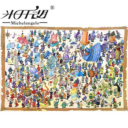 VGFTP Houten puzzel van 1000 stukjes, legpuzzels voor volwassenen, zeer uitdagende legpuzzels voor volwassenen en tieners, Monster Plaza