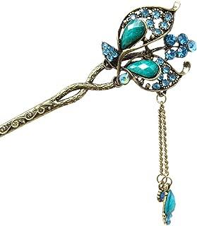 Honbay Chinese Style Retro Tassel Blue Butterfly Hair Stick Hair Chopsticks Hairpin Chignon Pin