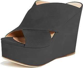 Women Peep Toe High Heel Wedge Sandals Slip on Mules Platform Slide Walking Shoes