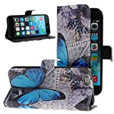 iPhone 6S Plus Case,iPhone 6S /6 Plus Case Wallet,NSSTAR Flower Cotton Pu Leather Flip Protective Case Cover with Stand for Apple iPhone 6S / 6 Plus 5.5' (Blue Butterfly)