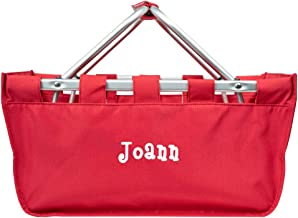 Personalized Large Collapsible Market Tote Baskets with Aluminum Frame