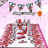 Miraculous Ladybug 145 Pcs Birthday Party Supplies Decorations Favors Set Ladybug Superhero Girl Kids Birthday Party Decor, Miraculous Ladybug Party Supplies