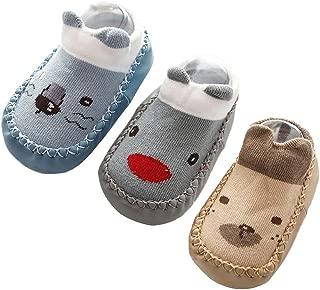 Happy Cherry 3Pcs Calcetines Prewalker para Recien Nacido