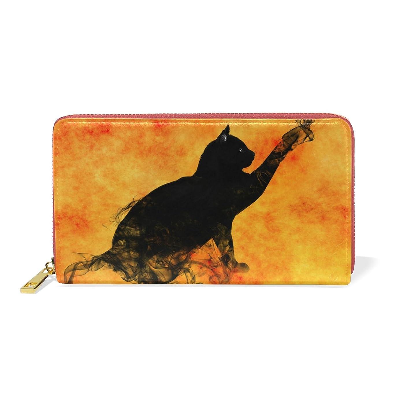 祖先修理可能完璧なAOMOKI 財布 長財布 レディース 本革 大容量 ラウンドファスナー 通勤 通学 ハロウィーン 猫柄 煙 火 オレンジ