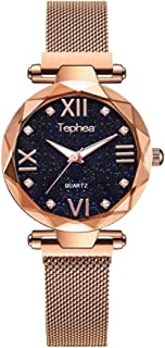 Tephea Magnetic Mesh Band Ladies Watch Roman Numerals Starry Sky Dial Waterproof Crystal Quartz Rhinestone Fashion Wristwatch - TE1922