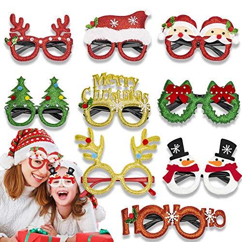 9 Piezas Gafas de Navidad de Novedad,Gafas de Fiesta Brillo