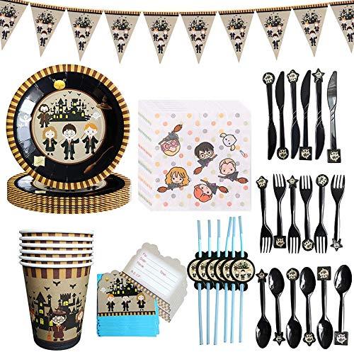 Amycute Zauberer Geburtstag Party Set Inklusive Teller Becher Servietten Trinkhalme für Geburtstagsdeko Themenparty.